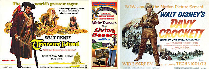 (1) L'Ile au trésor, 1950, Byron Haskin. (2) Le Désert vivant, 1953, James Algar. (3) Davy Crockett, King of the Wild Frontier, 1955.