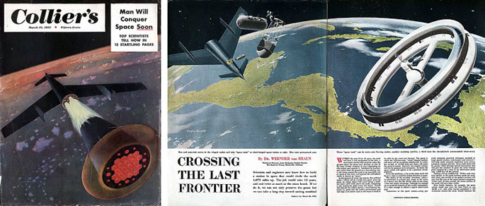 "(11) ""Man Will Conquer Space Soon"", couverture, Collier's, 22 mars 1952 (ill. de Chesley Bonestell). (12) Wernher von Braun, ""Crossing the Las Frontier"", Collier's, 22 mars 1952 (ill. de Chesley Bonestell)."