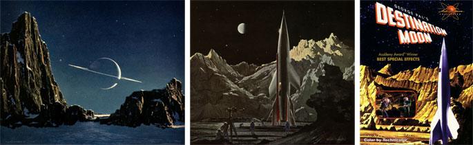 """(13) Chesley Bonestell, """"La planète Saturne vue de son satellite Titan"""", La Conquête de l'espace, 1949, © Bonestell LLC. (14) Chesley Bonestell, """"Le vaisseau, ayant atterri sur sa base, décollera de cette position pour retourner sur Terre"""", La Conquête de l'espace, 1949, © Bonestell LLC. (15) Affiche du film """"Destination Moon"""", 1950."""