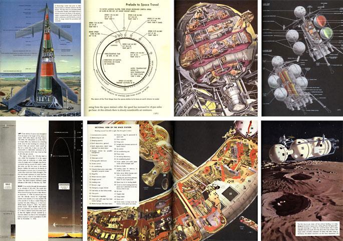 (16) Rolf Klep, schéma du lanceur spatial, Across the Space Frontier, 1952. (17) Anon. Schéma du retour du 3e étage vers la Terre, ibid. (18) Fred Freeman, schéma de la sphère de l'équipage, Conquest of the Moon, 1953. (19) Fred Freeman, vaisseau cargo lunaire, ibid. (20) Rolf Klep, vue en coupe de l'atmosphère terrestre, Across the Space Frontier, 1952. (21) Fred Freeman, vue en coupe de la station orbitale, ibid.( 22) Chesley Bonestell, vaisseau cargo évoluant à la surface de la Lune, ibid.