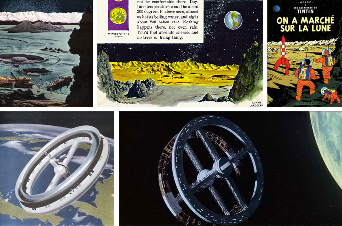 (26) Chesley Bonestell, l'expédition lunaire dans la plaine de Sinus Roris, Conquest of the Moon, 1953, © Bonestell LCC. (27) Sy Barlowe, A Child's Book of Stars, 1953. (28) Hergé, On a marché sur la Lune, 1954, © Editions Moulinsart. (29) Chesley Bonestell, station orbitale, Across the Space Frontier, 1952. © Bonestell LCC. (30) Stanley Kubrick, 2001. Odyssée de l'espace, 1968 (vidéogramme).