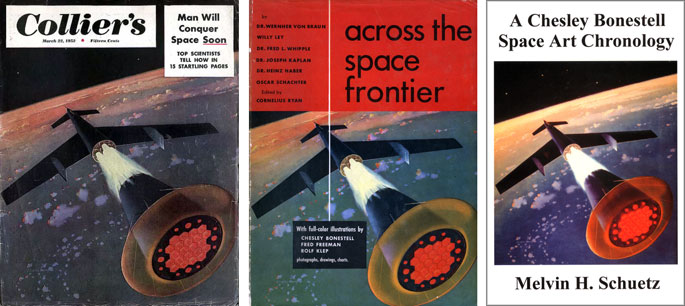(31) Collier's, 22 mars 1952, couverture, ill. de Chesley Bonestell).(32) Cornélius Ryan (dir.), Across the Space Frontier, couverture, 1952. (33) Melvin H. Schuetz, A Chesley Bonestell Space Art Chronology, 1999.