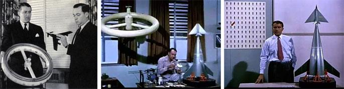 """(34) Wernher von Braun et Gordon Manning, rédacteur en chef du Collier's, avec les modèles réduits des vaisseaux spatiaux, Across the Space Frontier, 1952. 35) Modèles réduits de vaisseaux spatiaux, """"Man in Space"""", 1955 (vidéogramme). 36) Wernher von Braun et le modèle réduit du lanceur, """"Man in Space"""", 1955 (vidéogramme)."""