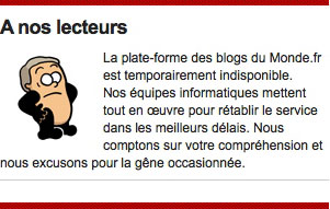 Les blogs du Monde.fr en panne pendant 3 jours